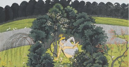 krishna and radha making love in a leafy bower on the banks of the yamuna kangra or guler painting c 1780 old indian arts