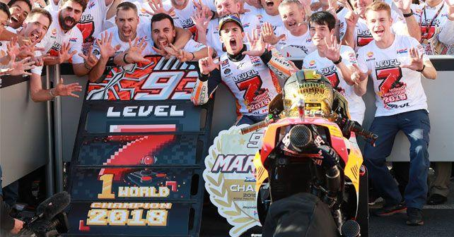 motogp 2018 marquez lifts fifth premier class world title as dovizioso falls at motegi